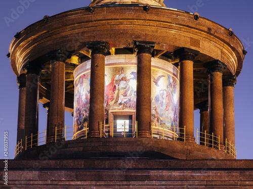 Berlin Victory Column (Siegessaule) monument colonnade and mosaic at night Tiergarten Berlin Germany