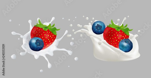 Strawberries and blueberries in yogurt. - 240353109