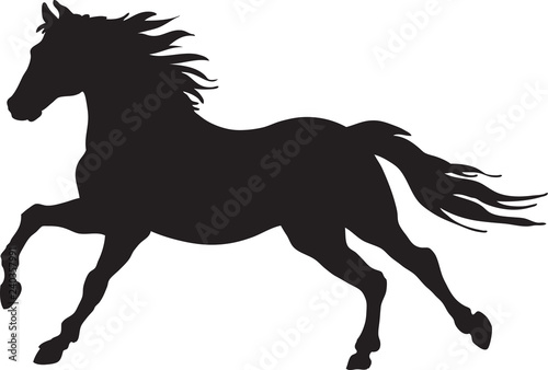 A silhouette of a running horse