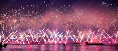 Hongkong Fireworks show in New Year Countdown celebration  - 240368934