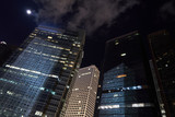perspective cityscape building in night sky and moon