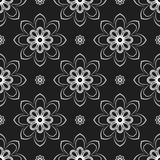 Floral vector ornament. Seamless abstract classic background with flowers. Pattern with repeating floral elements. Black and white ornament for fabric, wallpaper and packaging - 240379316