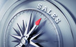 Leinwandbild Motiv Silbergrauer Kompass - Sales