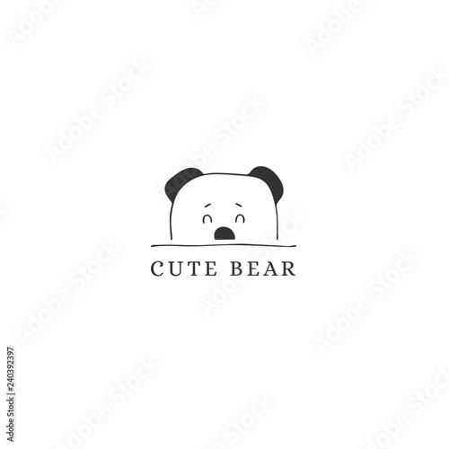 Hand Drawn Logo Template Cute Curious Bear Face