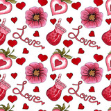 Seamless pattern with love cocktail, flower and hearts for Valentine's day