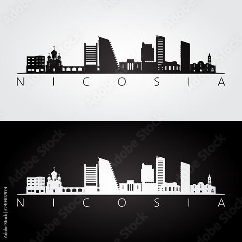 Nicosia skyline and landmarks silhouette, black and white design, vector illustration.