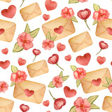 Valentines day seamless pattern with watercolor pink hearts and letters , background for february 14 celebration - Illustration