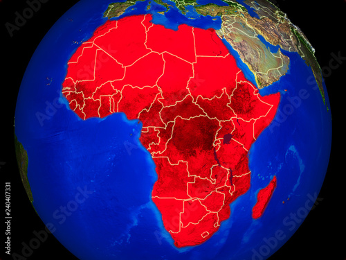 Africa from space on model of planet Earth with country borders and very detailed planet surface.