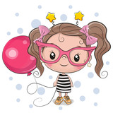 Cute Girl with pink glasses - 240409537