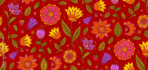 Red vector floral textile seamless pattern with colorful ornate flowers in vintage style - 240412715