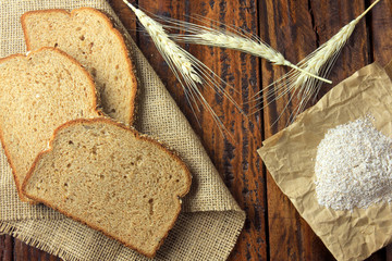 handmade organic bread made from oats, eggs and flax seeds. Healthy diet.