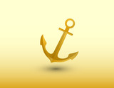 A golden anchor of ship vector to secure vessel in the sea on blue background illustration