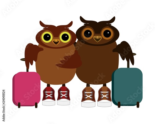 nice owls wih baggage isolated on white