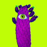 Contemporary art collage. Purple Cactus with human eye. Minimal funny Art - 240418306
