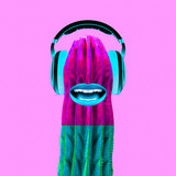 Contemporary art collage.  Cactus Dj. Colorful music vibes - 240418385