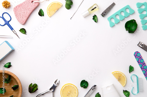 Top view of manicure and pedicure tools