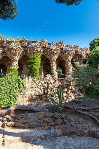 obraz lub plakat Park guell columns and viaducts, Barcelona, Spain - May 16, 2018.