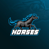 horse mascot logo vector design with modern illustration concept style for badge, emblem and t shirt printing. horse illustration with running style.