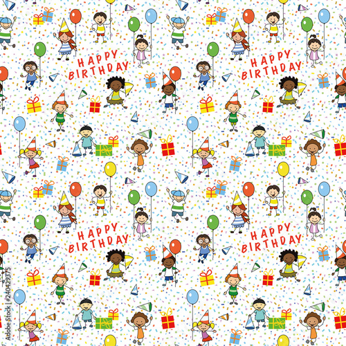 mata magnetyczna birthday wrapping paper , seamless pattern with kids illustration