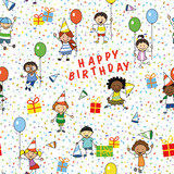 happy birthday party illustration, wrapping paper  seamless pattern