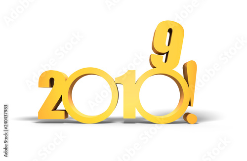 Two thousand and nineteen. Happy New 2019 year in gold tones isolated on white background.