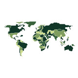 graphic of world map combined with camouflage pattern