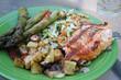 grilled vegetables salmon steak fillet on plate closeup asparagus