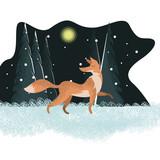 Great fox flat illustration