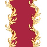 Golden baroque semless border. Classic pattern with abstract leaves