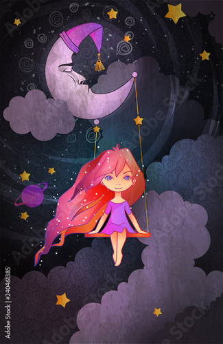 Cute little girl swinging on a crescent in front of night sky. Insomnia concept. Cartoon style vector illustration - 240461385