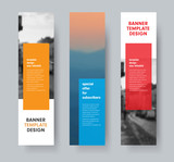 Template of vertical vector banners with transparent colored dice for text and place for photo. - 240468909