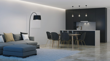 Modern house interior. Black kitchen. Night. Evening lighting. 3D rendering. © artemp1