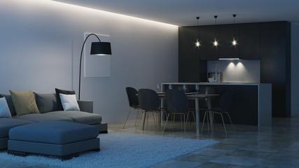 Modern house interior. Black kitchen. Night. Evening lighting. 3D rendering. © artemp1