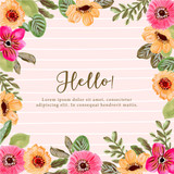 yellow pink floral painting frame background