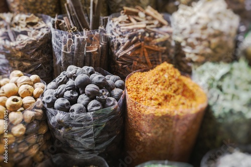 Dried herbs, flowers and arabic spices in the souk in Dubai. Selective Focus.
