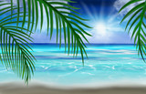 View of the sea, the beach, palm leaves. Tropical sea background. - 240479900