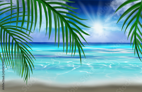 View of the sea, the beach, palm leaves. Tropical sea background.