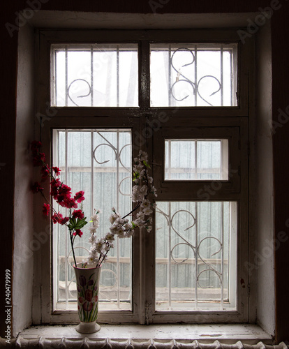 Old wooden window in the dark room as background - 240479999