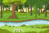 Forest landscape with a river, hand draw illustration
