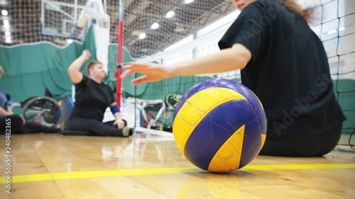 Sports for disabled people. Training people to hit the ball