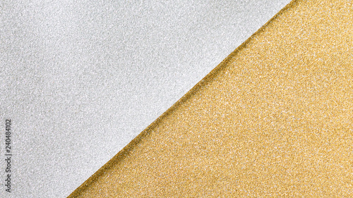 Gold and silver glitter paper background
