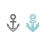 Two vector illustrations of an anchor. Set of vector symbols. Stop on rest of the marine transport. Flat design Monohrome