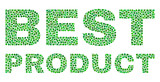 Dot vector Best Product text isolated on a white background. Best Product mosaic title of circle dots in various sizes.