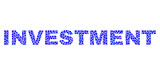 Vector dot Investment text isolated on a white background. Investment mosaic name of circle dots in various sizes.
