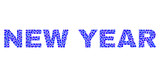 Vector dot New Year text isolated on a white background. New Year mosaic label of circle dots in various sizes.