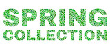 Dot vector Spring Collection text isolated on a white background. Spring Collection mosaic label of circle dots in various sizes.
