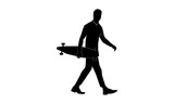 vector image of a man walking while holding a skateboard.