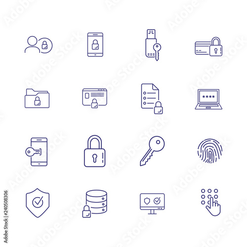 Information security line icon set  Key, lock, password