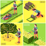 Landscaping Isometric Design Concept - 240509757