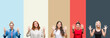 Collage of group of beautiful casual woman over vintage autumn colors isolated background showing and pointing up with fingers number ten while smiling confident and happy.